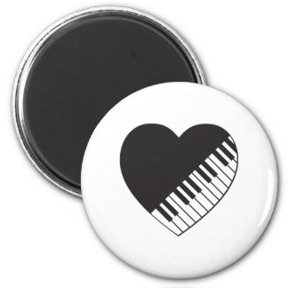Piano Heart 2 Inch Round Magnet