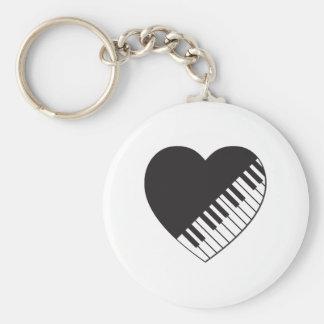 Piano Heart Basic Round Button Keychain