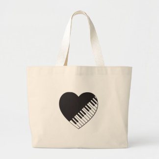 Piano Heart Large Tote Bag