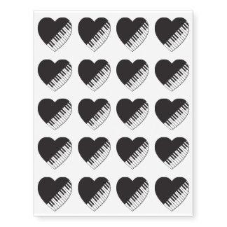 Piano Heart Temporary Tattoos