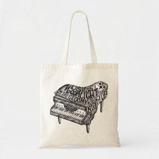 Piano Illustration Budget Tote Bag
