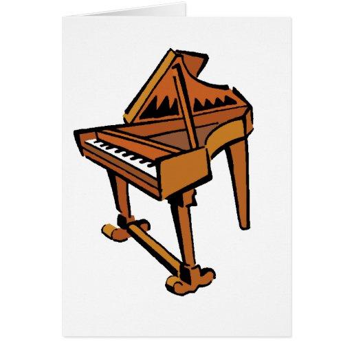 Piano, imagen gráfica marrón del músico del piano  felicitacion