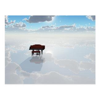 Piano in dramatic white landscape postcard
