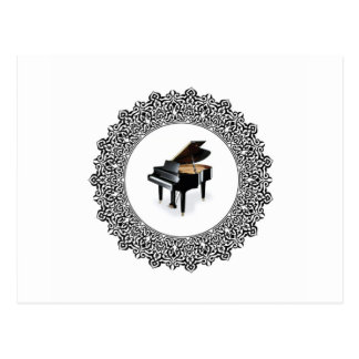 piano in round postcard