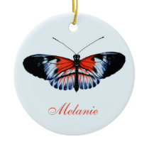 Piano Key Butterfly Black, Red & Blue Painting Ceramic Ornament