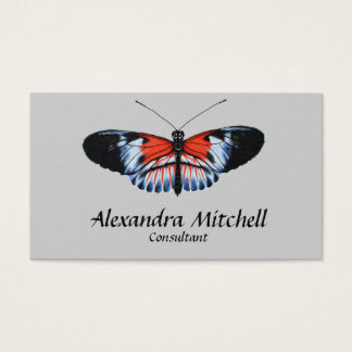 Piano Key Butterfly Black & Red Realistic Painted Business Card