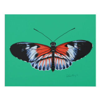 Piano Key Butterfly Black & Red Realistic Painted Panel Wall Art
