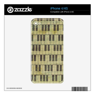 Piano Key Music Note Skins For iPhone 4