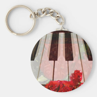 Piano key,Roses & Muisc notes_ Key Chains