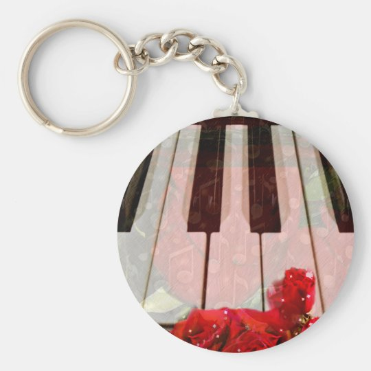 Piano key,Roses & Muisc notes_ Keychain