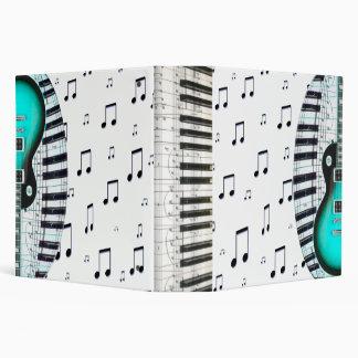 Piano Keyboard and Aqua Blue Electric Guitar Vinyl Binder