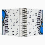 Piano Keyboard and Blue Electric Guitar Binders