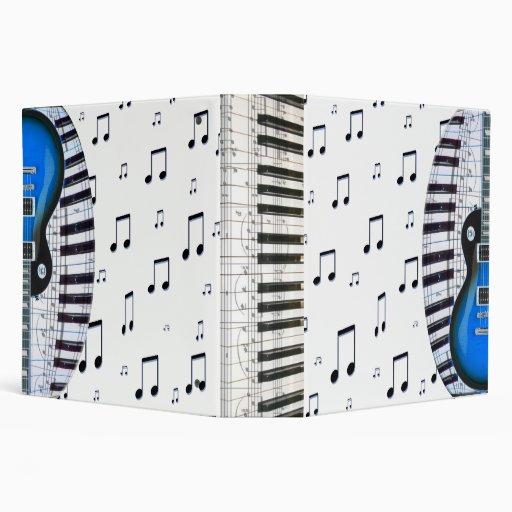Piano Keyboard and Blue Electric Guitar Binders
