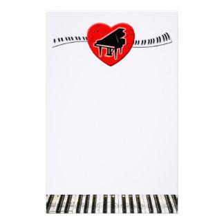 Piano Keyboard and Heart Customized Stationery