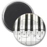 Piano Keyboard and Music Notes 2 Inch Round Magnet