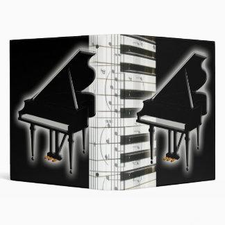 Piano Keyboard and Music Notes 3 Ring Binder