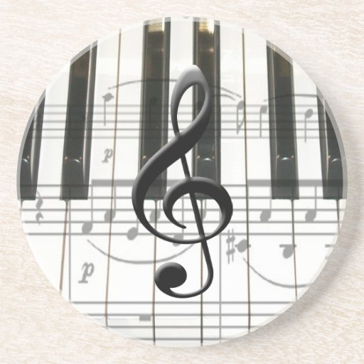 Piano Keyboard and Music Notes Beverage Coasters