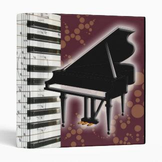 Piano Keyboard and Music Notes Vinyl Binders