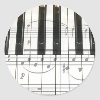 Piano Keyboard and Music Notes Classic Round Sticker