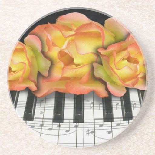 Piano Keyboard and Music Notes Coasters