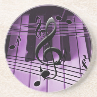 Piano Keyboard and Music Notes Drink Coaster