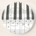 Piano Keyboard and Music Notes Drink Coasters