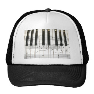Piano Keyboard and Music Notes Trucker Hat