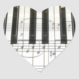 Piano Keyboard and Music Notes Heart Sticker