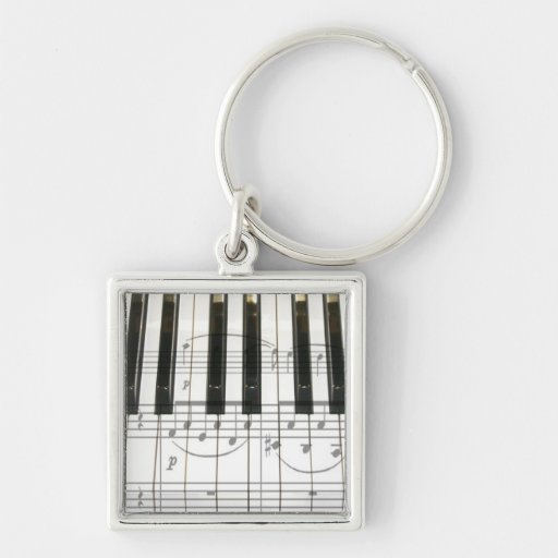Piano Keyboard and Music Notes Key Chains