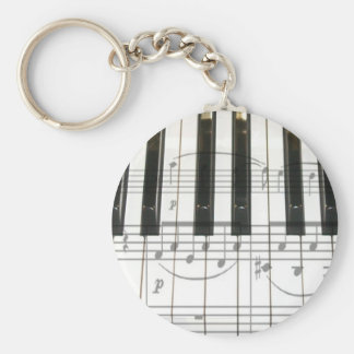 Piano Keyboard and Music Notes Basic Round Button Keychain