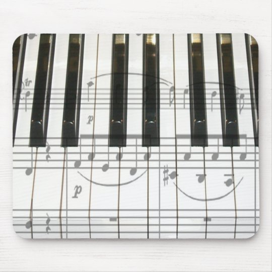 Piano Keyboard and Music Notes Mouse Pad