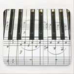 Piano Keyboard and Music Notes Mouse Pads