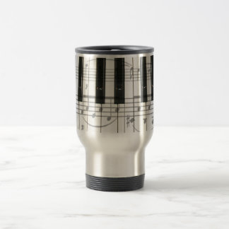 Piano Keyboard and Music Notes 15 Oz Stainless Steel Travel Mug