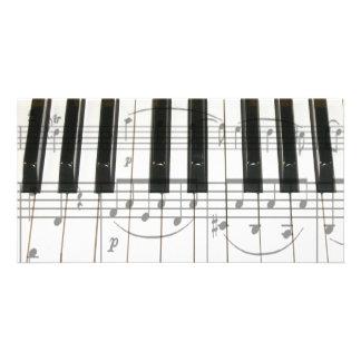Piano Keyboard and Music Notes Photo Card