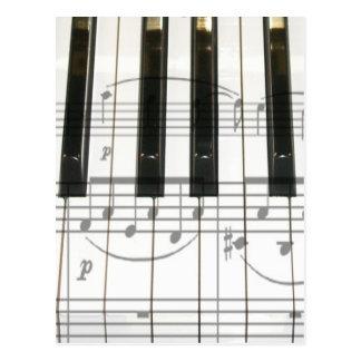 Piano Keyboard and Music Notes Postcard