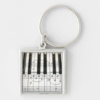 Piano Keyboard and Music Notes Silver-Colored Square Keychain