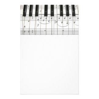 Piano Keyboard and Music Notes Custom Stationery