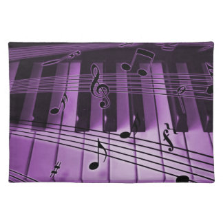 Piano Keyboard and Notes Purple Place Mats
