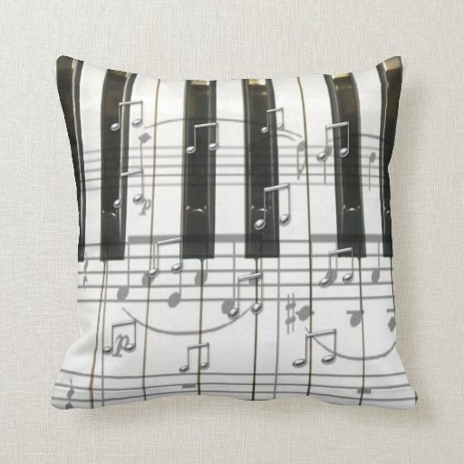 Piano Keyboard and Notes Throw Pillow