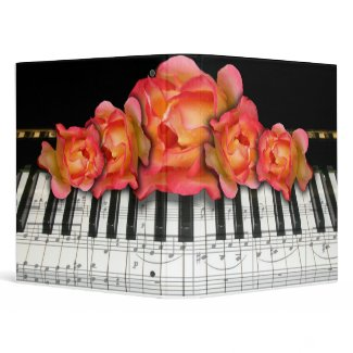 Piano Keyboard and Roses binder