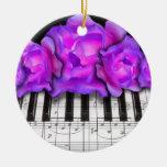 Piano Keyboard and Roses Christmas Ornament