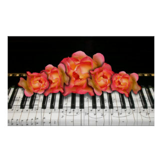 Piano Keyboard and Roses Poster