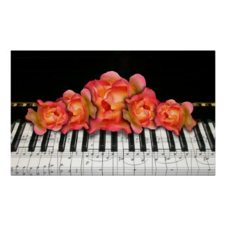 Piano Keyboard and Roses Poster