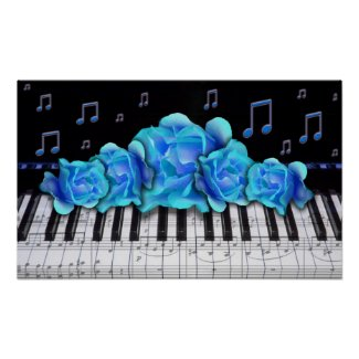 Piano Keyboard and Roses Posters
