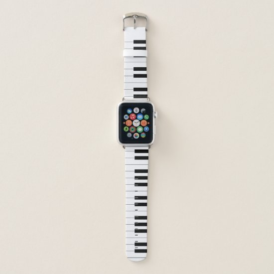 Piano Keyboard, Black and White Apple Watch Band