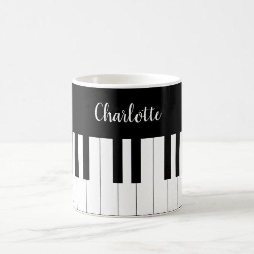Piano Keyboard Black and White Mug