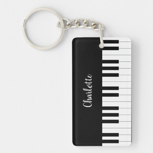 Piano Keyboard Black and White Rectangle keychain