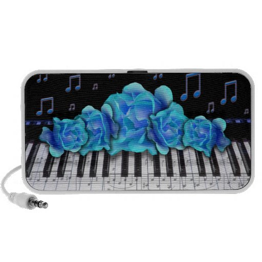 Piano Keyboard Blue Roses Travelling Speakers
