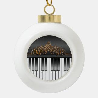 Piano Keyboard Ceramic Ball Christmas Ornament