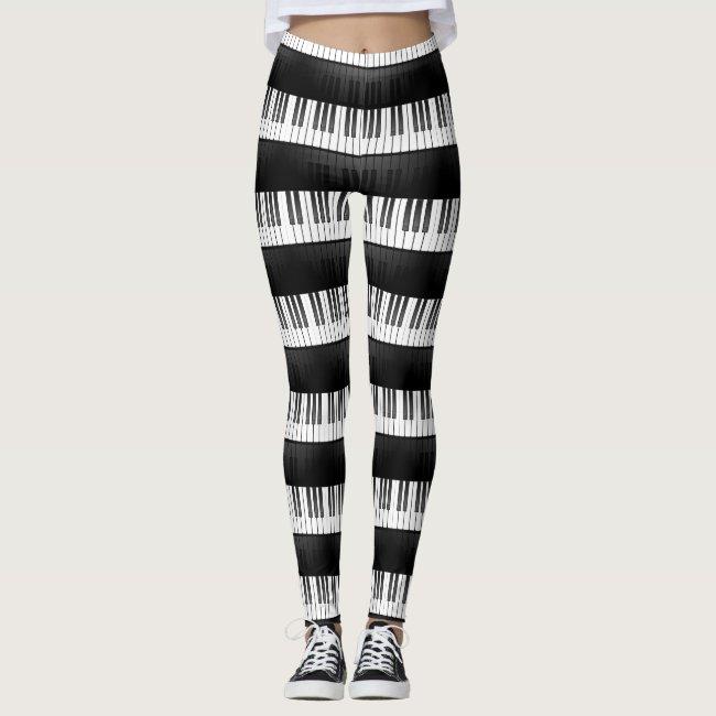Piano Keyboard Design All-Over Print Leggings